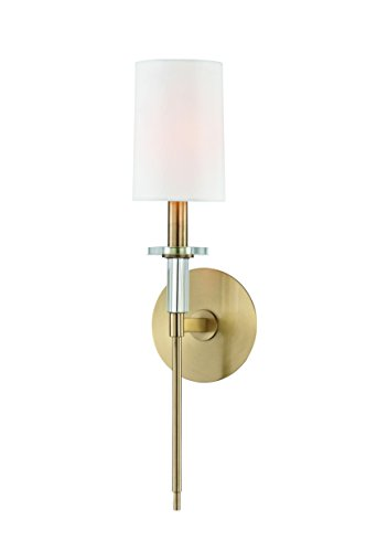 Hudson Valley Lighting 8511-AGB 1 Wall Sconce Transitional Amherst Collection in Brass-Antique Finish 1 Light Aged Textured