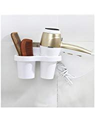 HaloVa Hair Dryer Holder, Wall Mount Traceless Hair Dryer Rack, Multifunctional Premium Hair Blower Storage Organizer for Bathroom Washroom, White