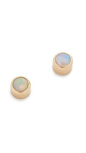 Zoe Chicco Women's 14k Gold Opal Gemstones Stud Earrings, Gold/White, One Size