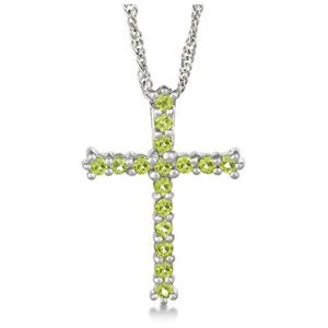 Amazon peridot cross pendant necklace sterling silver 208ct peridot cross pendant necklace sterling silver 208ct mozeypictures Gallery