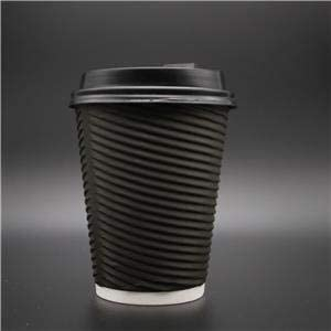 We Can Source It Ltd 100 x 12oz Black Horizontal Round Ripple Paper Wall Disposable Tea Coffee Cappuccino Hot Drinks Cups /& Black Sip Through Lids