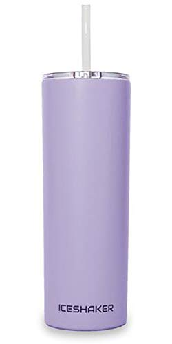 Ice Shaker 20 oz Skinny Tumbler (Lilac)- Stainless Steel Tumbler & Insulated Water Bottle With Straw - Vacuum Insulated Tumbler For Hot and Cold Beverages - Tumbler With Lid Holds Ice for 30+ Hours