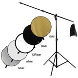 Fotodiox Pro Ultra Reflector Kit - 42'' 5-in-1 Collapsible Disc + 3-in-1 Heavy Duty Boom Stand by Fotodiox