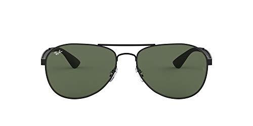Ray-Ban RB3549 Aviator Sunglasses, Matte Black/Green, 61 mm (Ray Ban Aviator Sonnenbrillen)