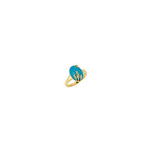 0mm Chinese Turquoise Leaf Design Ring Sz 7 ()