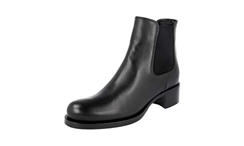(Prada Women's 1T186G Ask F0002 Black Leather Half-Boot EU 41 / US 11)
