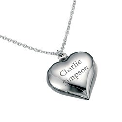 5e56d15832 Personalised Love Heart Necklace - Sterling Silver Jewellery - Classic,  Engraved Stylish Pendant: Amazon.co.uk: Jewellery