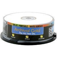Delkin DDVD-R-I/25 SPIN 8X 100 Year Life Span Archival Gold Inkjet DVD-R (25 Pack Spindle) by Delkin