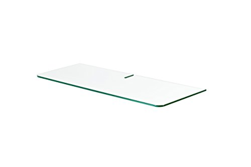 Dolle Tempered Floating Glass Shelf with Media Cord Slot (Tempered Glass Media)