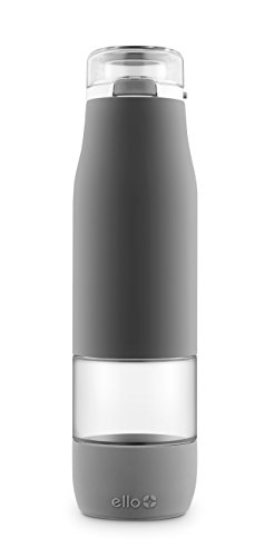 Ello Aura BPA-Free Glass Water Bottle, Grey, 24 Oz