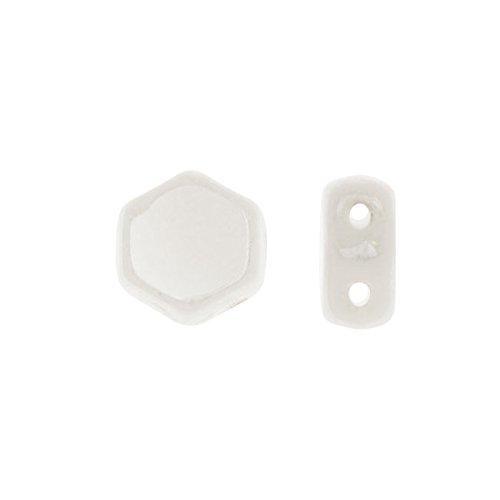 Czech Glass Honeycomb Beads, 2-Hole Hexagon 6mm, 30 Pieces, Chalk Luster
