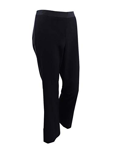 Calvin Klein Womens Petites Satin-Stripe High-Rise Tuxedo Pant Black 6P