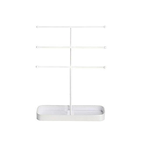 JackCubeDesign Metal 3 Tier Jewelry Display Stand Tree Organizer Bracelet Necklace Holder Rack Hanger Tower with Earring Ring Tray Storage Tabletop(White, 12.1 x 4.1 x 16.1 inches) – :MK320F by JackCubeDesign (Image #4)