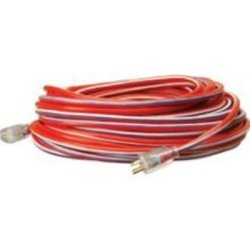 Coleman Cable (ECI02549-USA-1) Extension Cord, Extra Rugged, 100 Foot, 12/3, Lighted Ends, Red, White and Blue Stripes