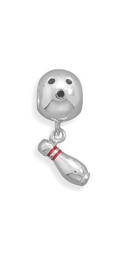 Corinna-Maria Sterling Silver Bowling Ball and Pin Charm (Sterling Silver Bowling Ball)