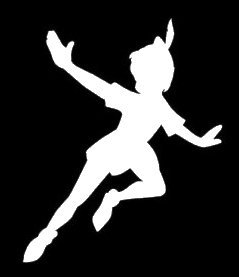 Peter Pan Flying Decal Vinyl Sticker|Cars Trucks Vans Walls Laptop| White |5.5 x 4 in|LLI427