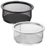 Set of 2 (BOTH Silver) Wire Mesh Clip Storage Cups / Office Supply Holders, 4-inch diameter