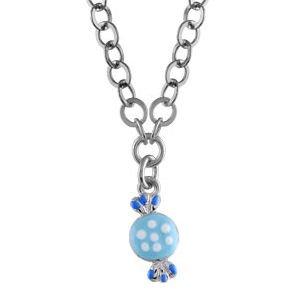 So Chic Bijoux © Collier Chaîne Enfant 37+ 3 cm Pampille Bonbon Bleu Argent 925
