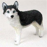 Husky Dog Figurine - Husky, Black/White, Blue Eyes Original Dog Figurine (4in-5in) by Conversation Concepts