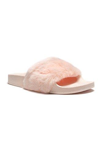 Sandalia Herstyle Mujeres Sl-160801 Faux Fur Slide Rosa