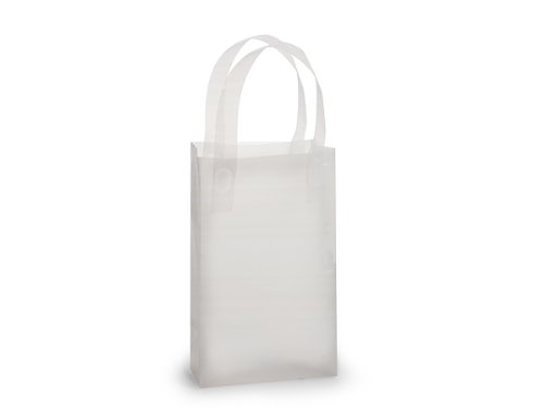 - Rose Frosted Plastic Shopping Bags 50 Pcs (Clear)