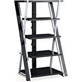 "Whalen 48"" Black Audio Video Tower, Tempered Glass Shelves"