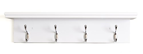 Kiera Grace Entryway Shelf with 4 Polished Metal Coat Hooks on White Board