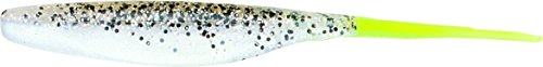 Bass Assassin Shad-8 Per Bag (Salt and Pepper Silver Phantom/Chartreuse Tail, 5-Inch)