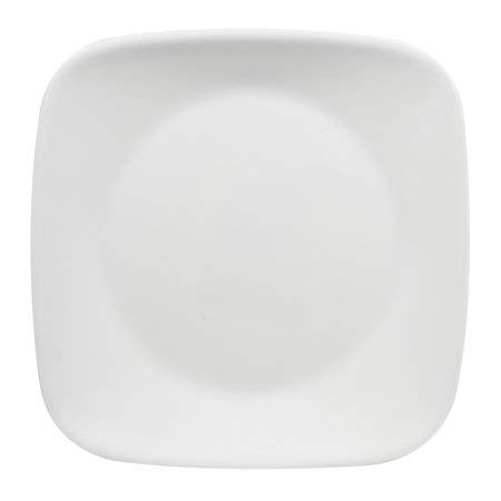Corelle Square Pure White 9-Inch Plate Set (6-Piece) (Lunch Plate Set of 6)