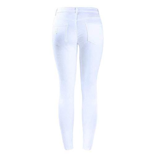 Huixin Mujer Mezclilla De Con En Jean Casuales Alta Stretch Cintura Pantalones Blanco Y Elásticos Vaqueros Media Curvilíneos Desgastada Para Mujeres Estirados Pitillo rIUwr