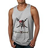 PTCY Men's Custom Sleeveless Shirt Cool Caribbean Skull Pirates Logo L Ash