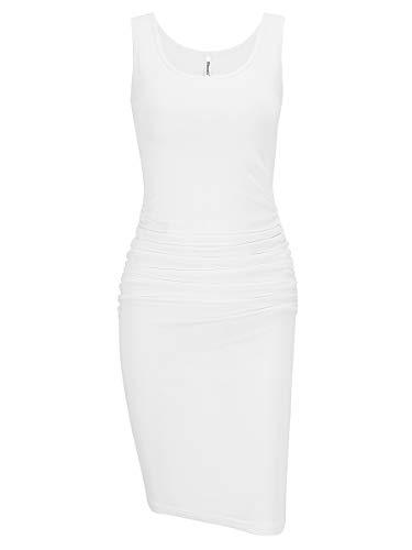Missufe White Dresses for Women Ruched Bodycon Sleeveless Tank Knee Length Summer Casual Midi Sun Dress (Sleeveless White, Large) (Maternity Party Dress Tea)