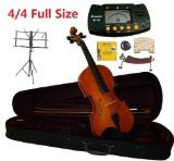 Merano 4/4 Full Size Student Violin with Case and Bow+Extra Set of Strings Extra Bridge Shoulder Rest Rosin Metro Tuner Black Music Stand and Rubber Mute by Merano