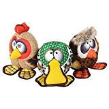 - Happy Tails Strong Mesh Fabric Owl, Rooster, Duck Barnyard Buddies Squeaker Chew Plush Dog Toy 3-Pack