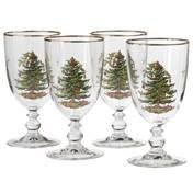 Christmas Trees Design Goblet - Spode 4339601 Christmas Tree Pedestal Goblet - Set of 4,