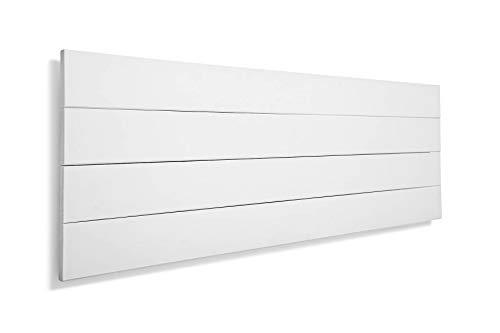 SUENOSZZZ-ESPECIALISTAS DEL DESCANSO Cabecero de Cama de Madera TREVINCA Color Blanco para Pared Cabecero de Tablas Horizontales Estilo Vintage, para Camas de 90 y 105