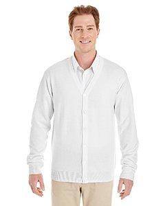 Harriton Mens Pilbloc V-Neck Button Cardigan Sweater (M425) -WHITE -M ()