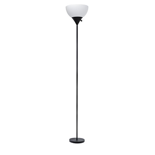 Sunllipe LED Torchiere Floor Lamp 70 Inches Sturdy Standing 9W Warm Light Uplight with Plastic Shade (Black)
