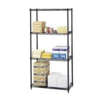 SAFCO Commercial Wire Shelving, 36w x 18d x 72h, 4 Shelves, Black (Case of 2)