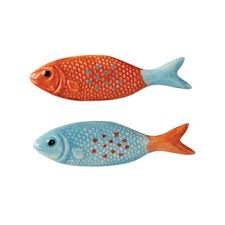Fish Knobs Drawer (Creative Co-op Ceramic fish Knob Drawer Handle (2, Blue & Orange))