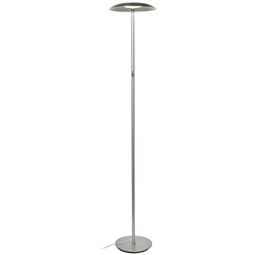 Brightech Sky Downlight - LED Reading Floor Lamp for Offices - Dimmable Craft & Hobby Light- Modern Tall Standing Pole Light for Living Room, Bedroom - Platinum Silver