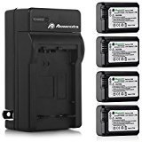 Powerextra Battery (4-Pack) and Charger for Sony NP-FW50 and Sony Alpha a6500, Alpha a6300, Alpha a6000, Alpha a7 II, Alpha...