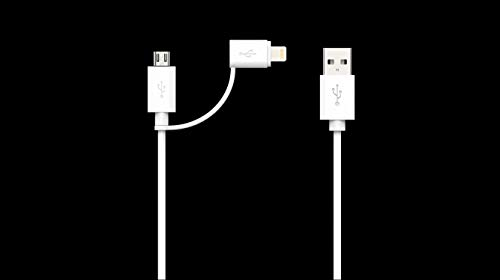 iPhone Charger Cable, Apple MFi Certified Lightning and Micro USB to USB Charger Cord, Compatible iPhone X, 8, 8 Plus,7 Plus, Nexus, LG, HTC Android Data Cable (2 in 1 White(6FT))