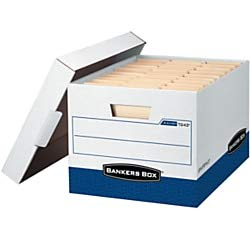 """Bankers Box R-Kive Storage Box, Letter/Legal, 15"""" x 12"""" x 10"""", 60% Recycled, White/Blue, Pack of 4 -  0724303"""