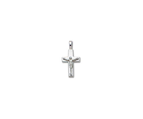 PicturesOnGold.com Solid 14k White Gold Small Plain Crucifix Cross - 1/2 Inch x 3/4 ()
