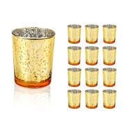 Wedding Decorations for Reception Mercury Glass Votive Candle Holder - 2.1 W 2.6 H (12pcs) - Glasses Holder Tealight Candles Holders Glass Candle Holders for Wedding Decor - Gold Glasses