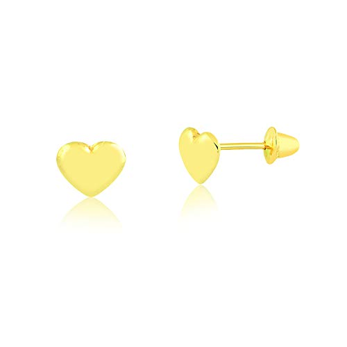 Carol Jewelry 18k Yellow Gold Heart Safety Stopper Stud Earrings for Girls, Babies, and - 18k Earrings Gold Yellow