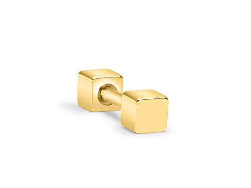 ONDAISY 14k Gold Plated Mini Small Minimalist Rectangle Square Cube Dice Square Ear Barbell Ball Stud Earring Piercing ()