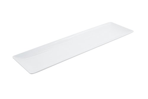 Bon Chef 53402WHITE Melamine Rectangular Platter with Wave Design, White (Pack of 20) by Bon Chef