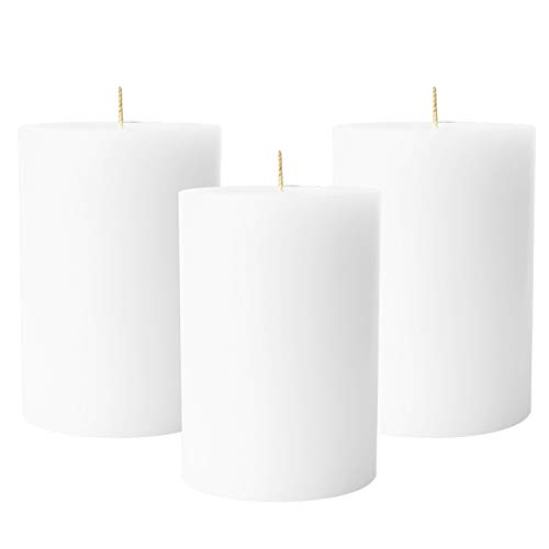 (Simply Soson 3 White Pillar Candles 3x4   unscented Pillar Candles   Dripless Pillar Candles Bulk (3 Pack) Code 2357)